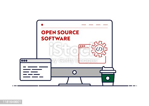 istock Vector Line Illustration Concept for Open Source Software. Editable Stroke and Pixel Perfect. 1181649921