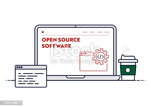 istock Vector Line Illustration Concept for Open Source Software. Editable Stroke and Pixel Perfect. 1193106517