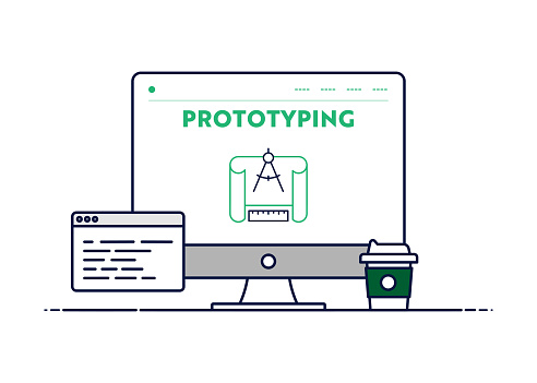 Vector Line Illustration Concept for Prototyping. Editable Stroke and Pixel Perfect.
