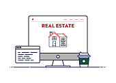 Vector Line Illustration Concept for Real Estate. Editable Stroke and Pixel Perfect.