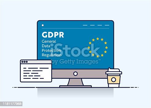 Vector Line Illustration Concept for GDPR. Editable Stroke and Pixel Perfect.