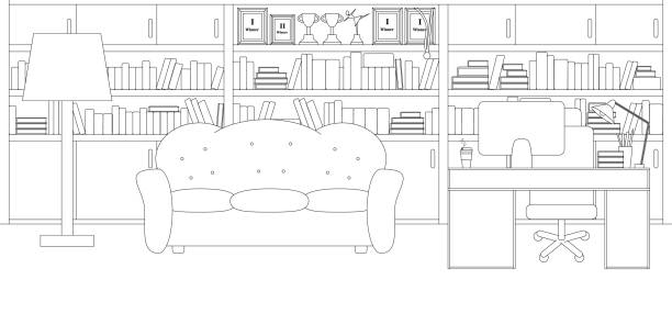 Vector Line Illustration of Home Office or Library Vector Line Illustration of Home Office and Library. White and Black Outline Sketch of Office Room with all Furniture: Desk, Computer, Library, Sofa, Books. Modern Interior Design in Line Art Style coloring book pages templates stock illustrations