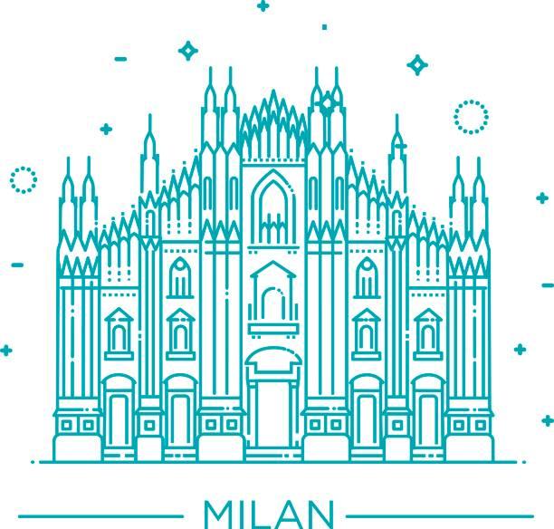 illustrazioni stock, clip art, cartoni animati e icone di tendenza di vector line illustration of milan cathedral, milan, italy. - milan