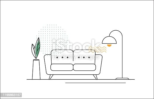 istock Vector Line Illustration with Sofa, Floor Lamp and Flower. 1199863157