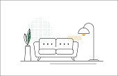 Vector Line Illustration with Sofa, Floor Lamp and Flower.