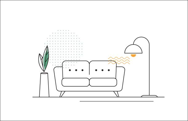 ilustrações de stock, clip art, desenhos animados e ícones de vector line illustration with sofa, floor lamp and flower. - sala