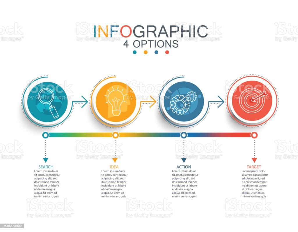 Vector line infographic template. vector art illustration