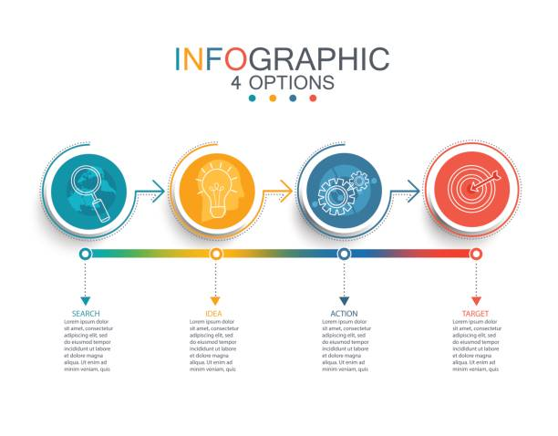 Vector line infographic template. Vector illustration infographic template with 3D circles paper label, business template for presentation. Creative concept for infographic, diagram, flowchart, workflow layout. Line business icon set. conceptual symbol stock illustrations