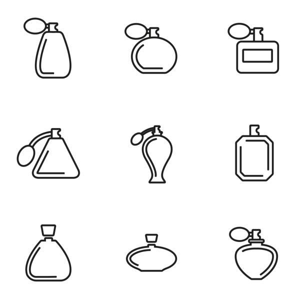 illustrazioni stock, clip art, cartoni animati e icone di tendenza di linea di profumi gruppo di icone vettoriali - profumo