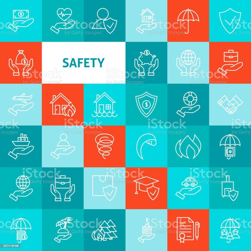 Vector Line Safety Icons Set - ilustração de arte em vetor