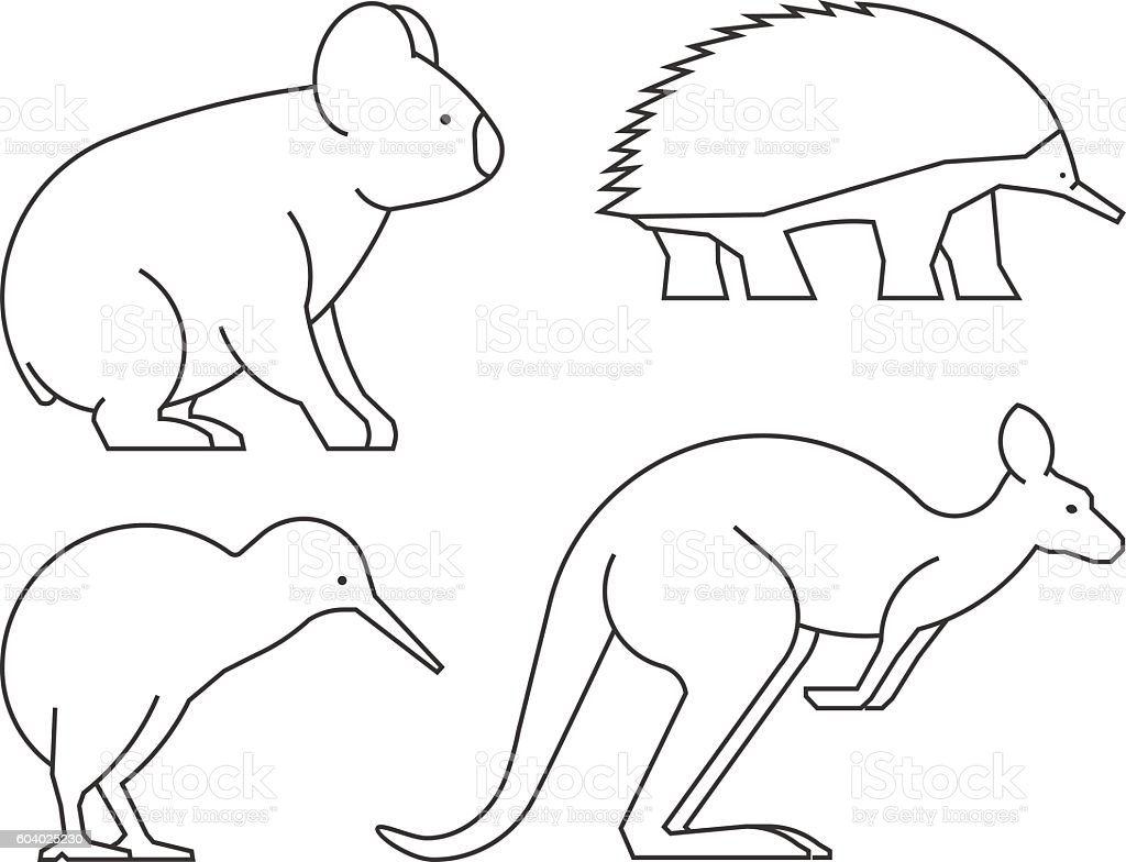 Line Drawings Of Australian Animals : Vector line set of australian animals stock art