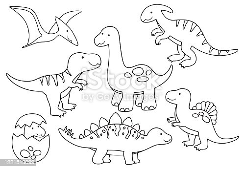 Vector line set of Dinosaurs Outline for Coloring