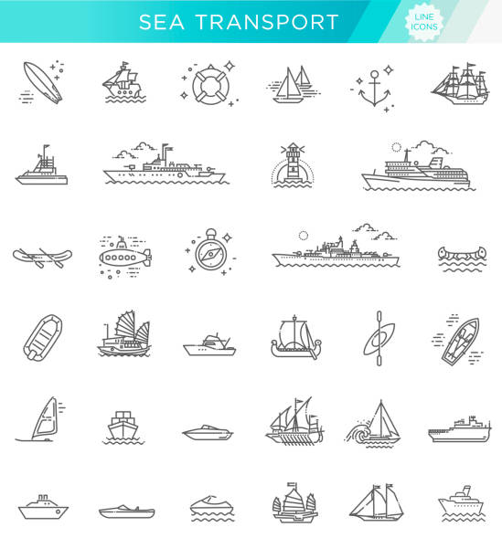 vector line set of ships and boats Ships - set of modern vector plain line design icons and pictograms sailboat stock illustrations