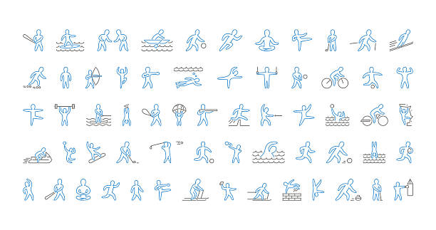 Vector line set of sports icons. Linear symbol of sportsmen. – Vektorgrafik