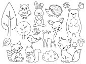 Vector line set of Woodland Animals Outline for Coloring
