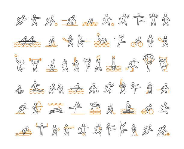 bildbanksillustrationer, clip art samt tecknat material och ikoner med vector line sports icons. open path - parkour