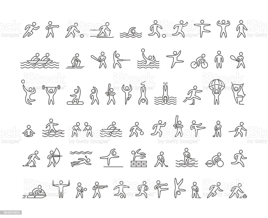 Vector line sports icons vector art illustration