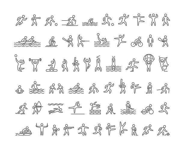 vector line sports icons - gymnastics stock illustrations, clip art, cartoons, & icons