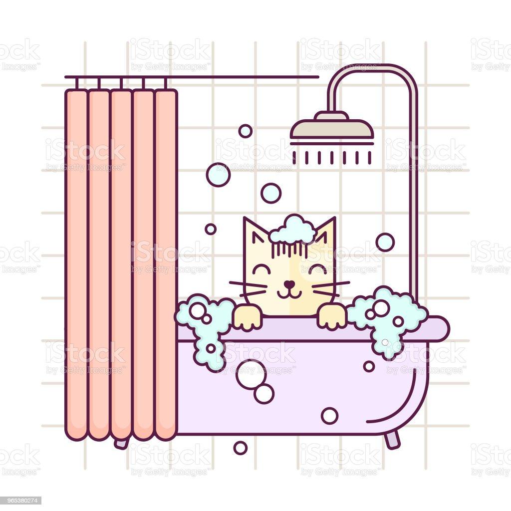 Vektor-Linie Stil Katze nimmt ein Bad. Pflege Salon Abbildung. Katze waschen lineare Symbol. - Lizenzfrei Badewanne Vektorgrafik