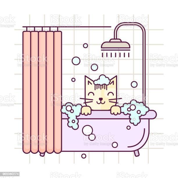 벡터 라인 스타일 고양이 목욕을 걸립니다 정리 살롱 그림입니다 고양이 세척 선형 아이콘 가정의 방에 대한 스톡 벡터 아트 및 기타 이미지