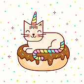 "Vector line style cute bright colored kawaii cat with corn and donat or unicorn. ""Donut worry be happy"" background. Baby pattern. Illustration for kids and children. Print design."