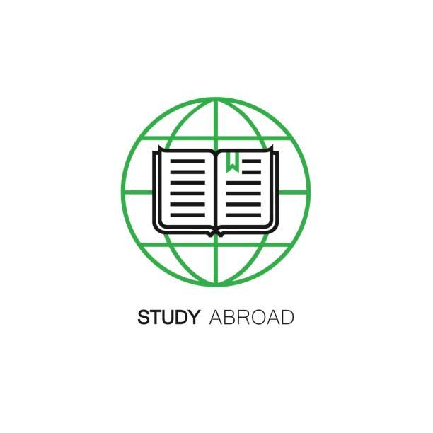 vektor-linie-stil-ikone mit globus und offenes buch. studium im ausland-symbol. - reiseliteratur stock-grafiken, -clipart, -cartoons und -symbole