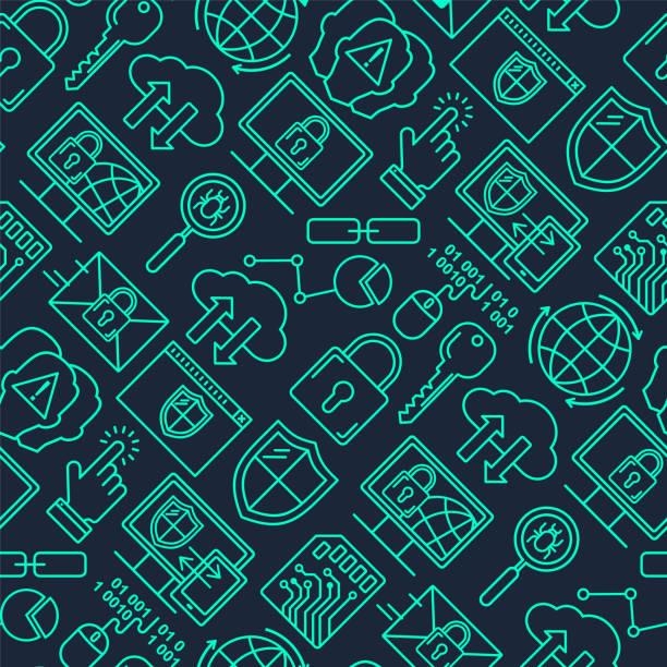 Vektor-Linienstil nahtlose Internet-Sicherheitsmuster. Datenschutz-Linearkonzept. Web-Privatsphäre und Sicherheit outlune Hintergrund. – Vektorgrafik