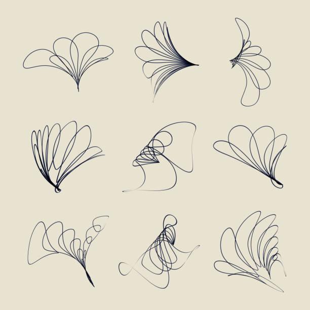 stockillustraties, clipart, cartoons en iconen met vector lijn stijl symbool collectie - floral line