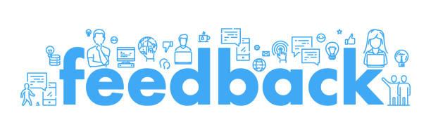 vector linie web-banner für feedback - feedback stock-grafiken, -clipart, -cartoons und -symbole