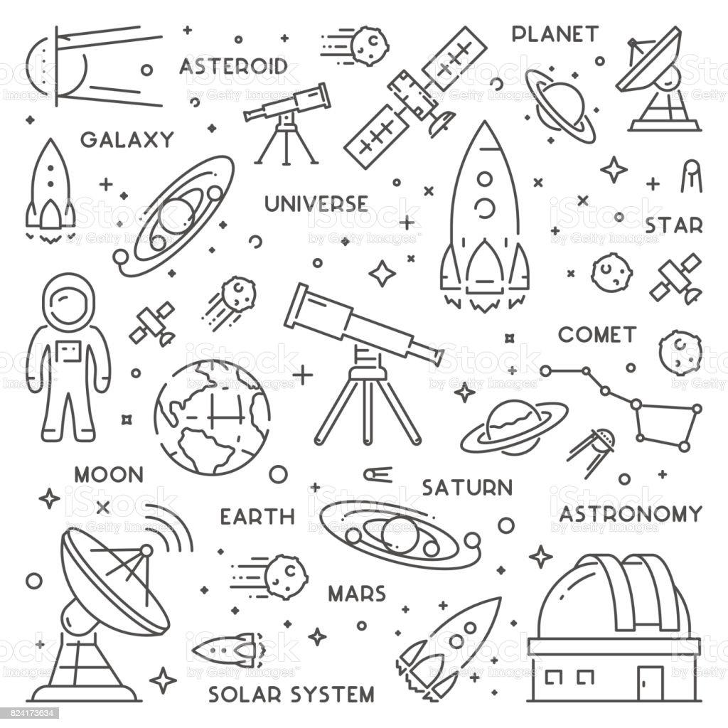 Conceito de web Vector linha para astronomia - ilustração de arte em vetor