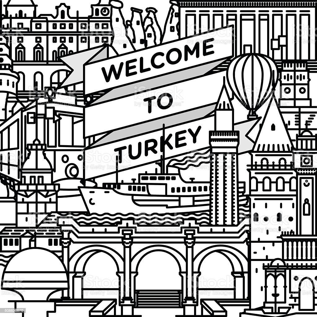 Vector line welcome to Turkey travel poster vektör sanat illüstrasyonu
