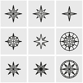 Vector line wind rose icon set