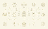 Vector line women decoration design elements set - flowers and gesture hands illustrations simple minimal linear style. Bundle mystical outline graphics for logo emblems and product packaging