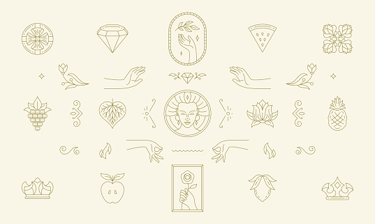 Vector line women decoration design elements set - women face and gesture hands illustrations minimal linear style