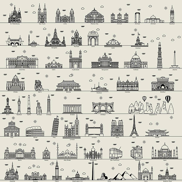 vector line world city illustration sign building set collection - abu dhabi stock illustrations
