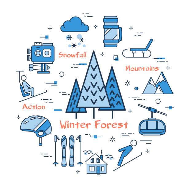 stockillustraties, clipart, cartoons en iconen met vector lineaire blauwe ronde concept van winter forest - gopro