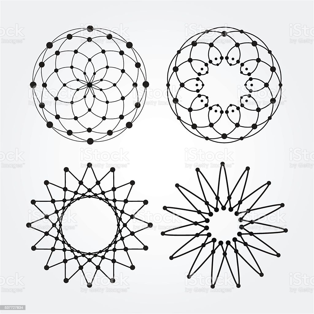 Vector linear circles, stars, spiral abstract round shapes. vector art illustration