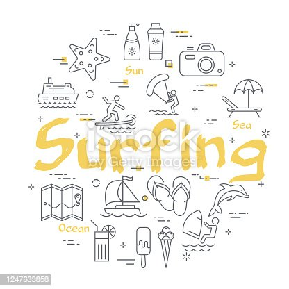 Vector line summertime vacation concept with yellow text Surfing in center. Trip planning, water entertainment, beach holiday and summer activity - windsurfing, kite surfing and diving
