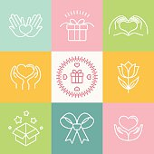 Vector linear gift icons and logos