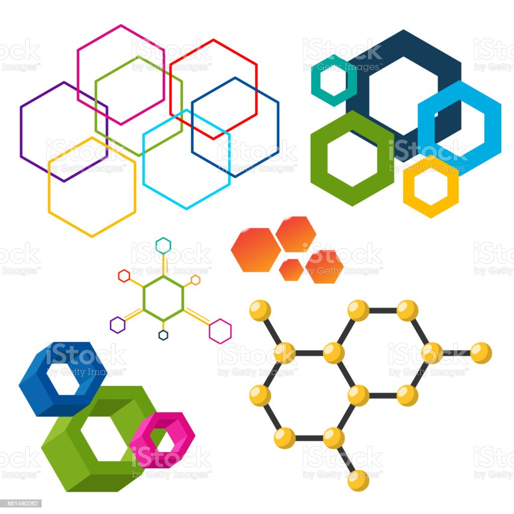 Vector Linear Hexagon Design Elements Different Honeycombs Abstract ...