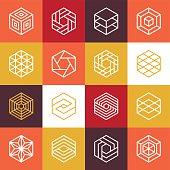 Vector linear hexagon logos and design elements