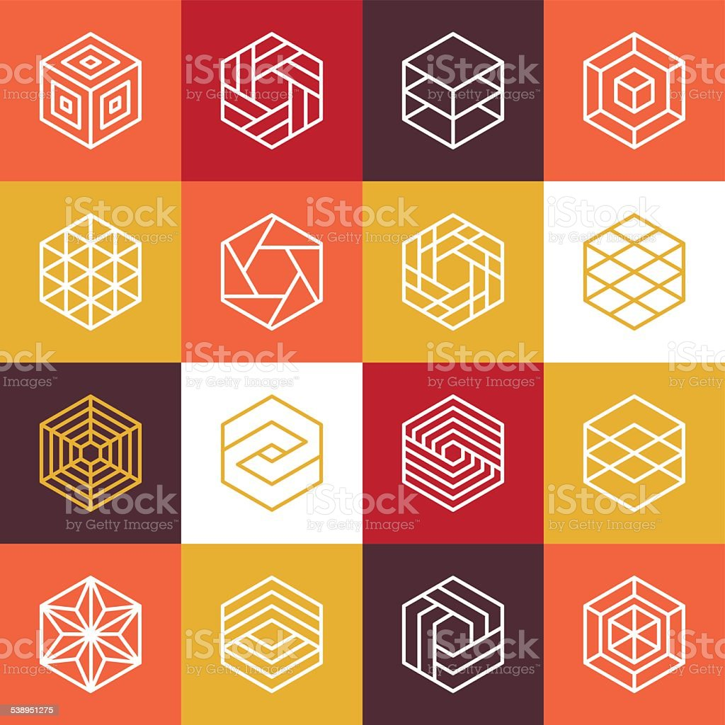 Vector linear hexagon logos and design elements vector art illustration