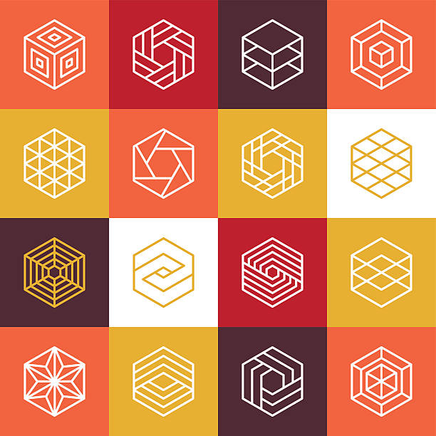Vector linear hexagon logos and design elements Vector linear hexagon logos and design elements - abstract icons for different business and technologies himbeeren stock illustrations