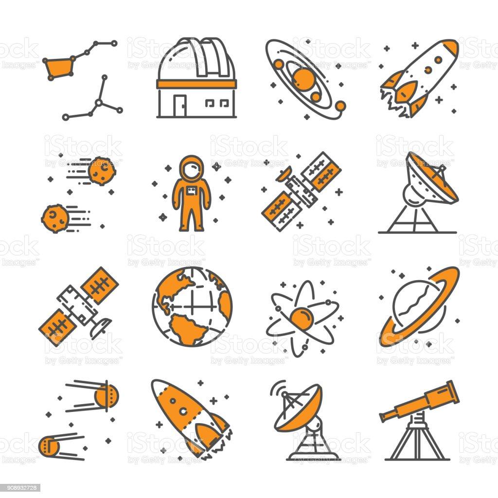 Vector linear icon set for astronomy vector art illustration