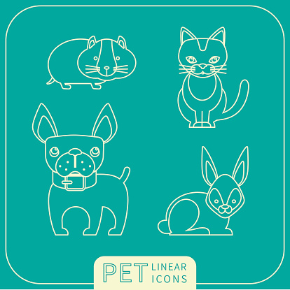 Vector linear icons of pets.