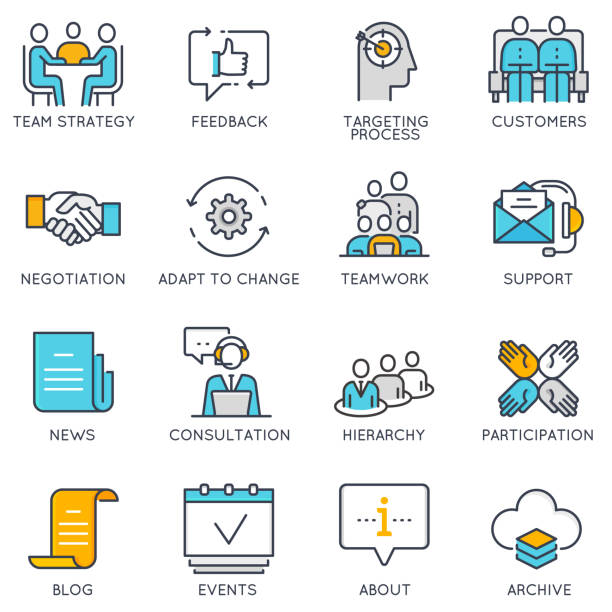 Vector linear icons related to business management and strategy vector art illustration