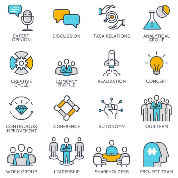 Linéaires icônes vectorielles, associés à la stratégie et de gestion d'entreprise - Illustration vectorielle