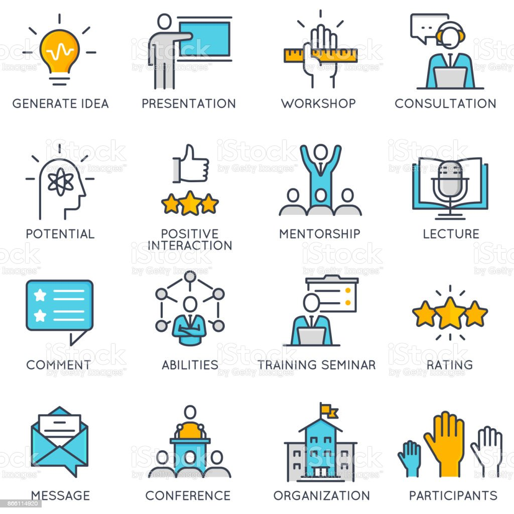 Vector linear icons related to corporate management, business people training vector art illustration