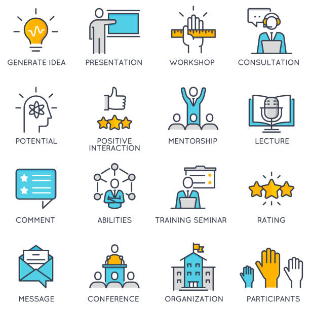vector linear icons related to corporate management, business people training - train stock illustrations, clip art, cartoons, & icons