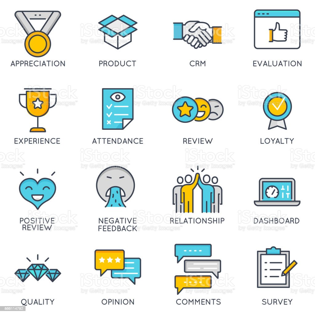 Vector linear icons related to feedback and customer relationship management vector art illustration